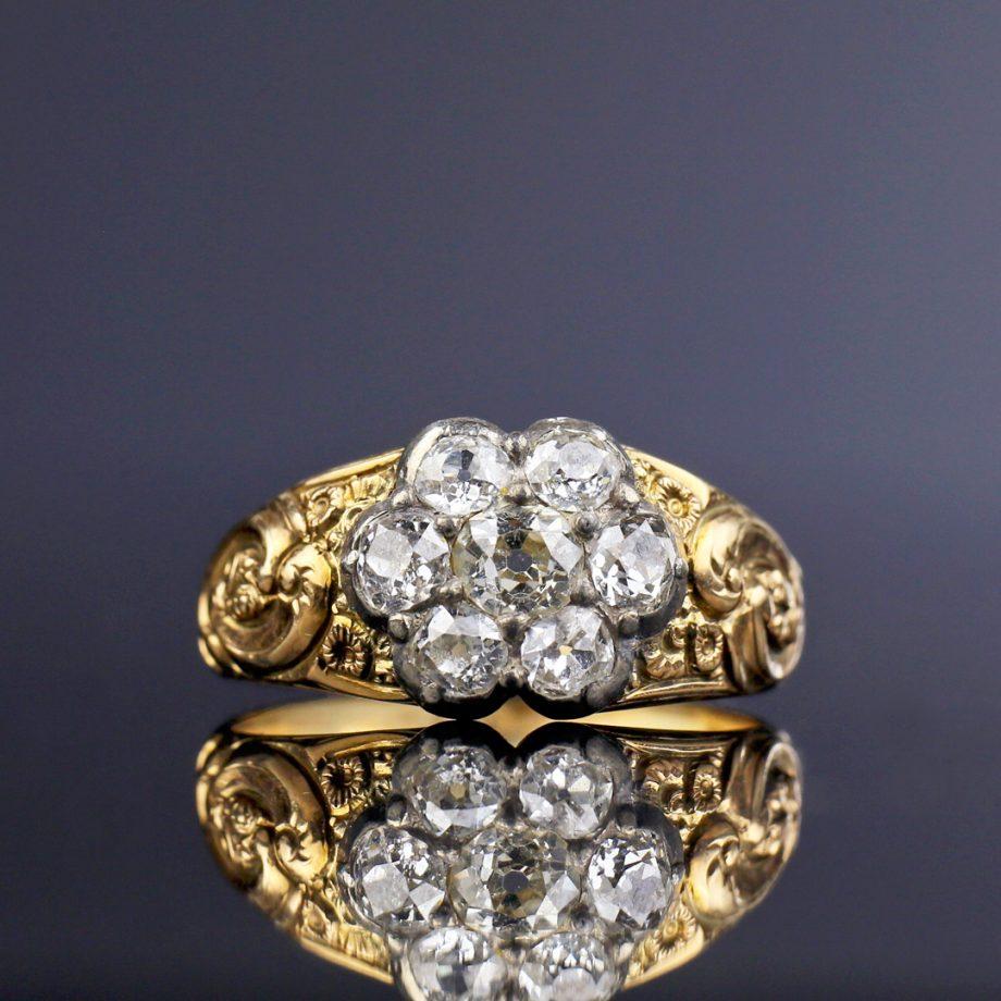 c. 1830s German Biedermeier Georgian Diamond Cluster Ring