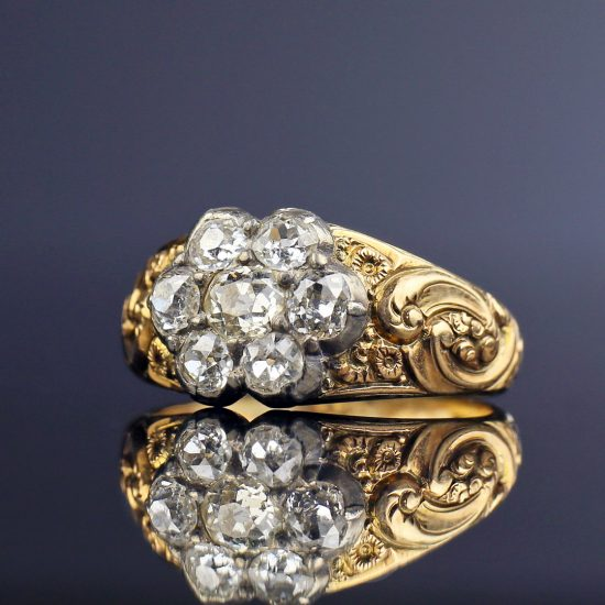 c. 1830s German Biedermeier Georgian Diamond Cluster Ring