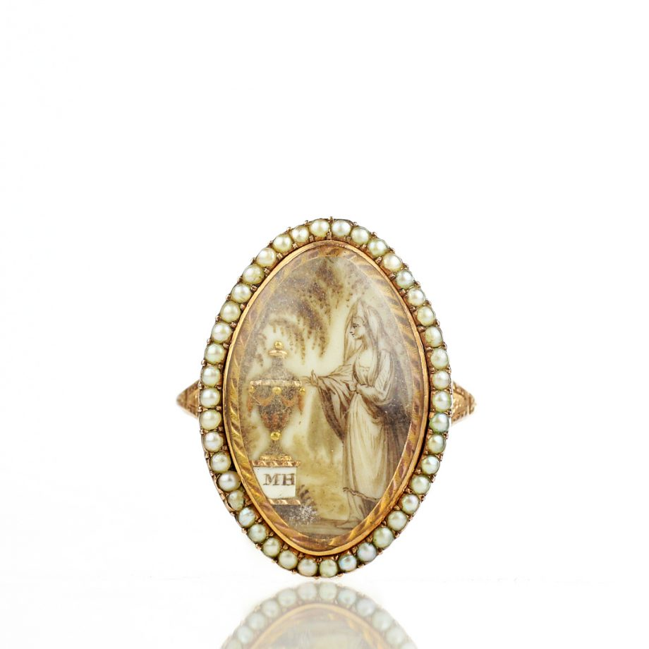 1781 Georgian Sepia Mouring Ring Urn Weeping Willow