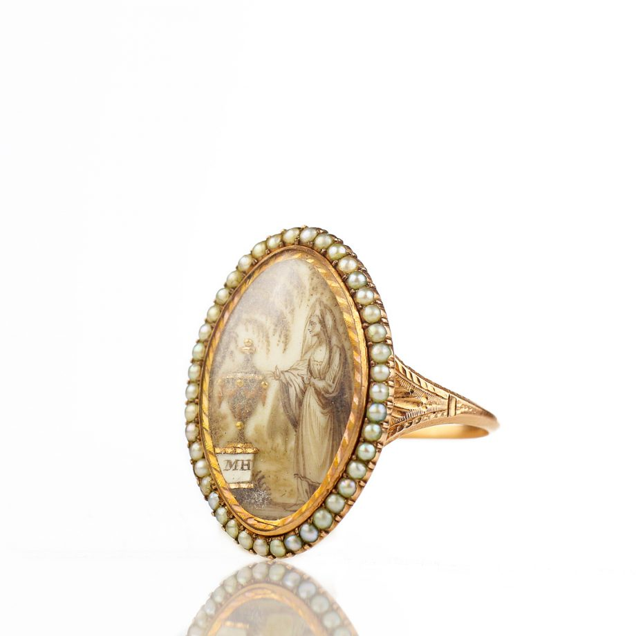 1781 Georgian Sepia Painted Mouring Ring