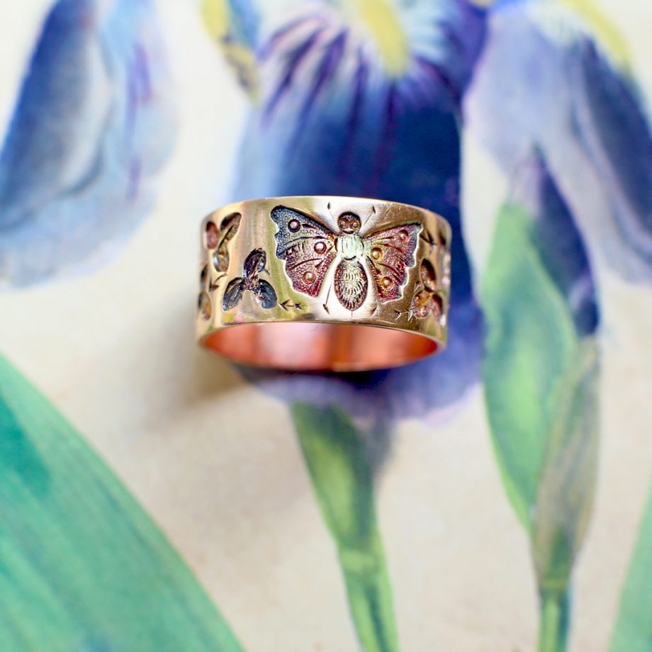 Victorian Aesthetic Movement Japonisme Butterfly & Ivy Gold Band