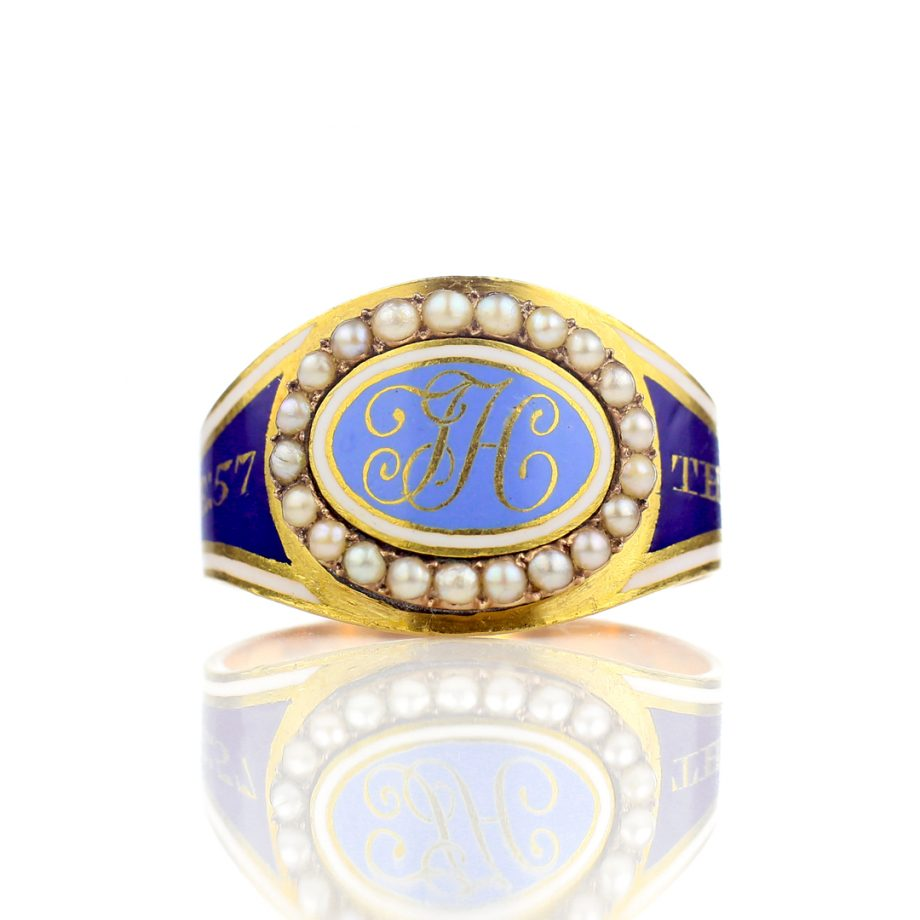 1796 Blue Enamel Georgian Mourning Ring