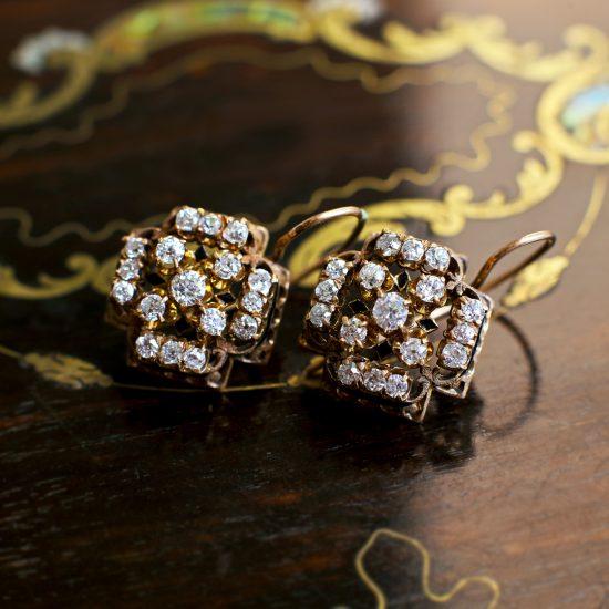 Victorian Diamond Cluster Dormeuse Earrings