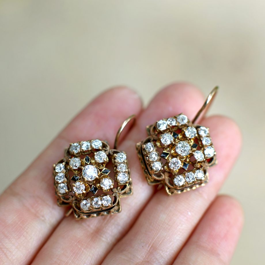 Victorian Diamond Cluster Dormeuse Earrings