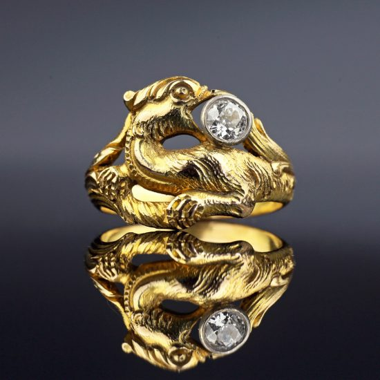 c. 1890-1900s Victorian Griffin Diamond Ring
