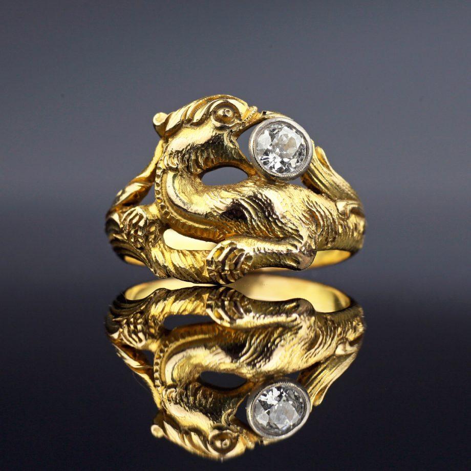 c. 1890-1900s Victorian Griffin Diamond Ring