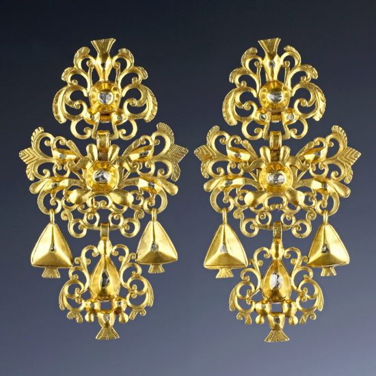 18th c Iberian Portuguese Gold & Diamond Girondole Earrings