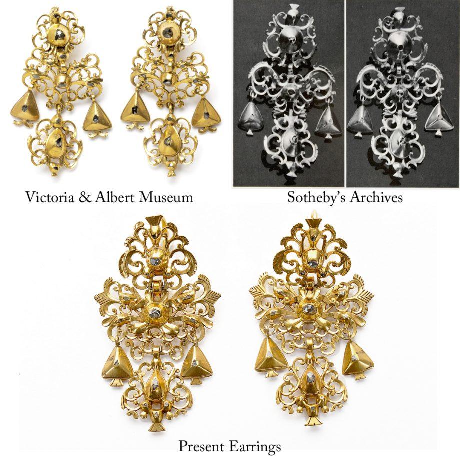 18th c Iberian Portuguese Gold & Diamond Girondole Earrings