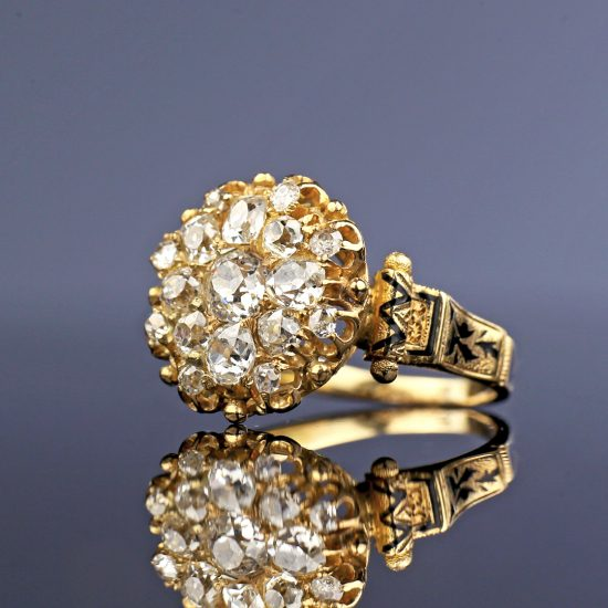 Victorian Old Mine Cut Diamond Cluster Ring with Taille d'Epargné