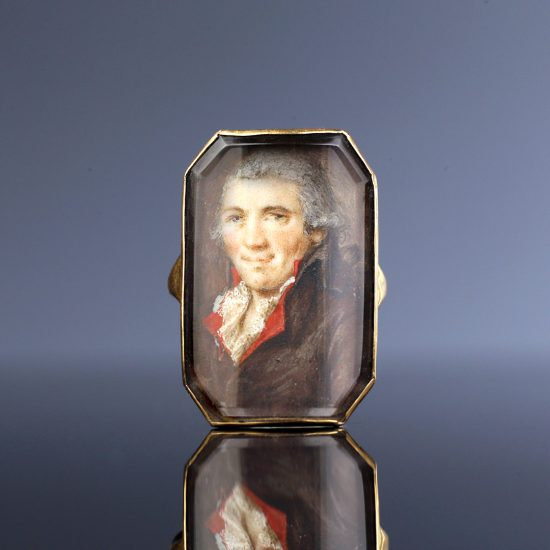 18th c Portrait Miniature Ring of a Gentleman