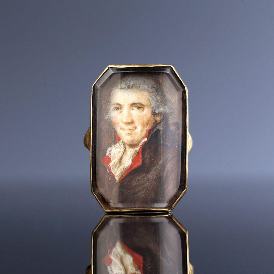 18th c Portrait Miniature Ring of a Gentleman