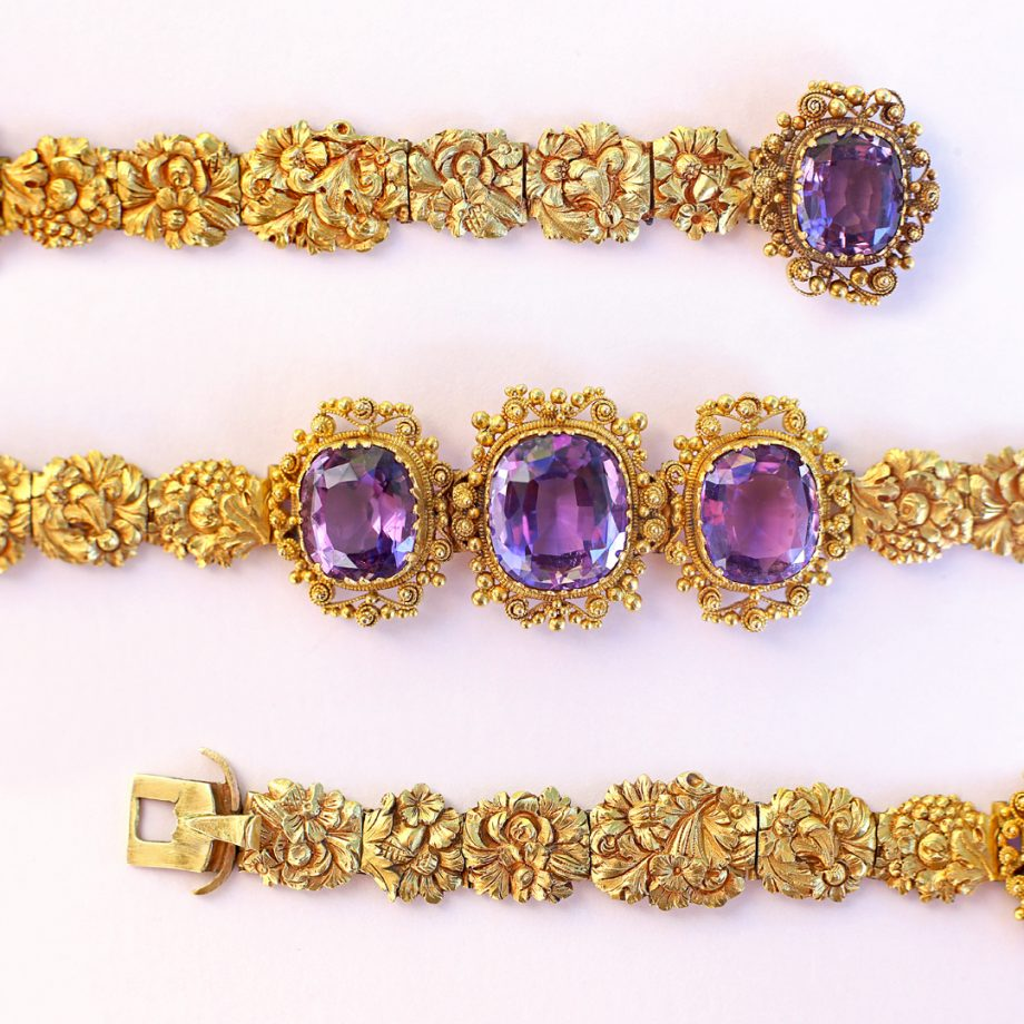 c. 1820-30 Georgian Cannetile Amethyst Bracelet with Floral Chased Gold Panels