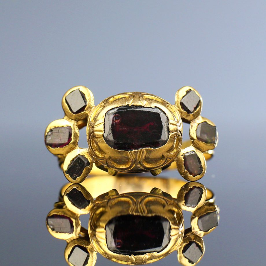 18th c Spanish Garnet 'Bow' Ring