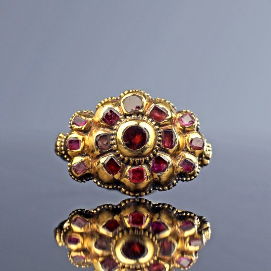 18th century Italian Ruby Cluster Ring