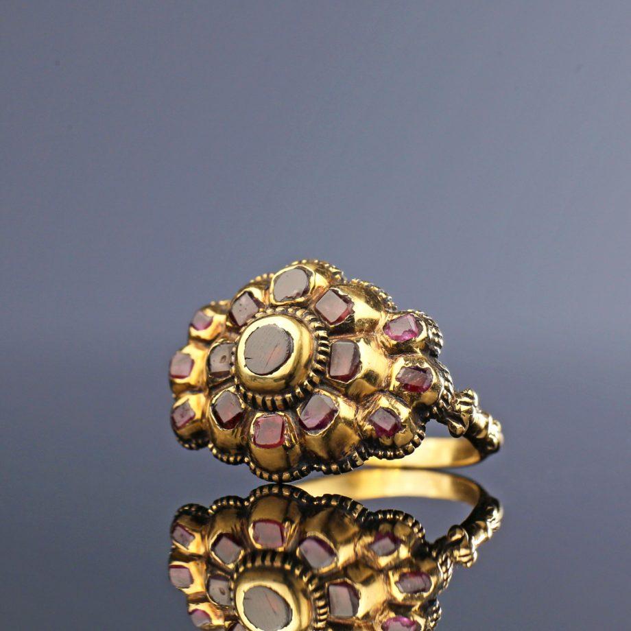 18th century Italian Ruby Cluster Iberian Ring