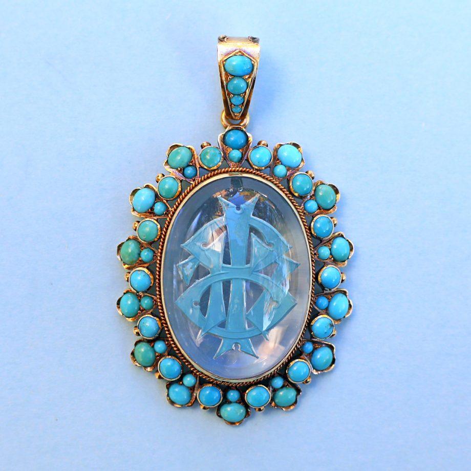 Victorian Essex Crystal Turquoise Pendant