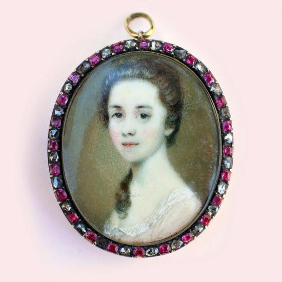 c. 1760s Georgian Portrait Miniature of a Young Girl