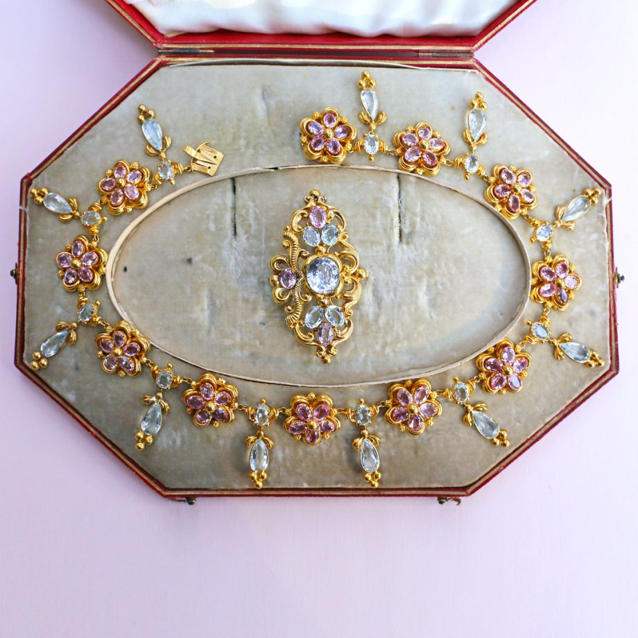c.1830 French Pink Topaz Aquamarine 18k Gold Demi-Parure