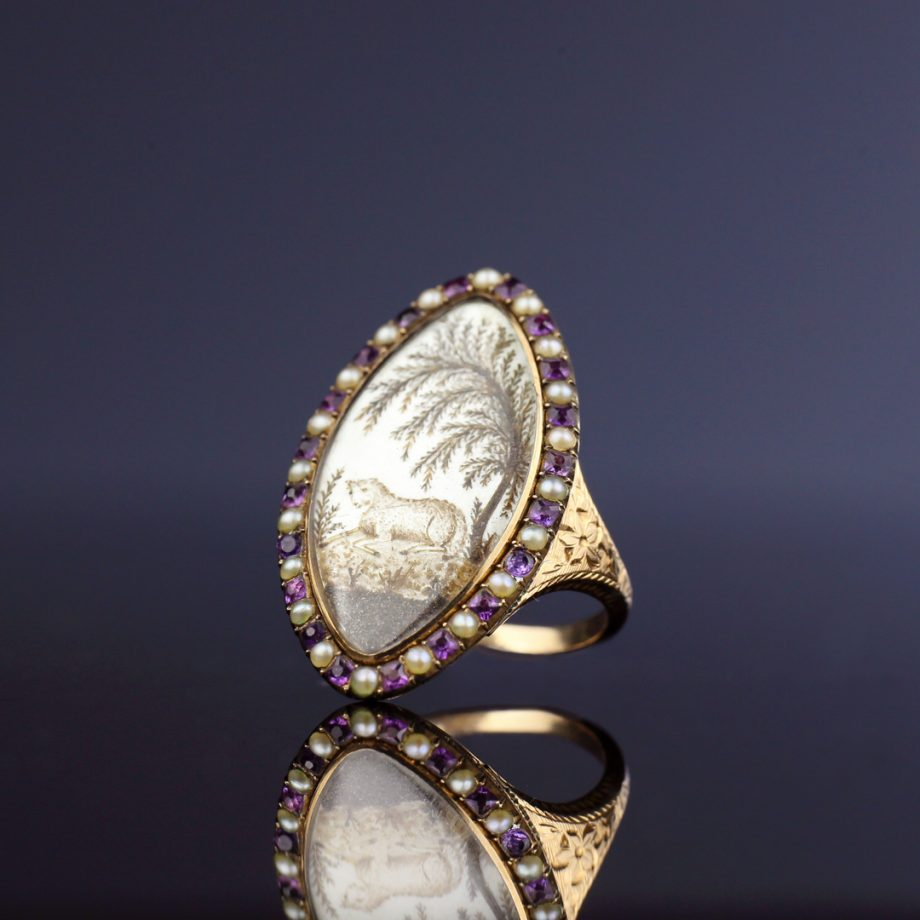 1780s Georgian Hairwork Lamb Navette Ring