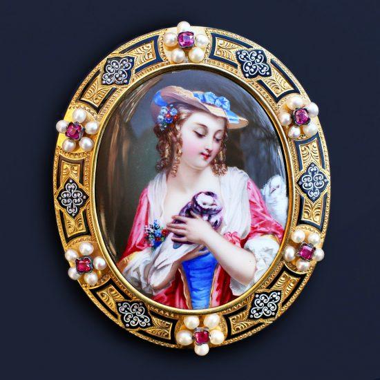 c. 1850 Geneva Swiss Enamel Pendant Brooch, Renaissance Revival 18k Gold, Pearls, Rubies