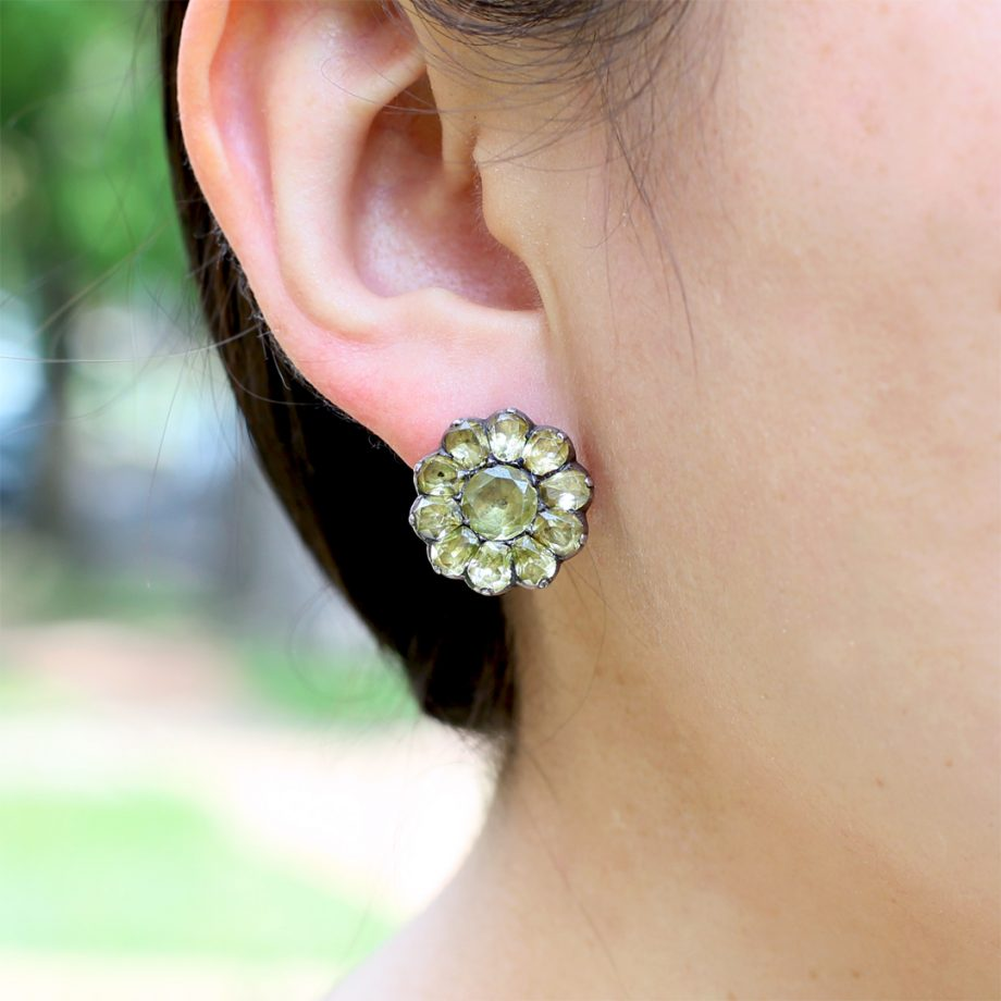 Late 18th century Portuguese Chrysoberyl Flowerhead Earrings
