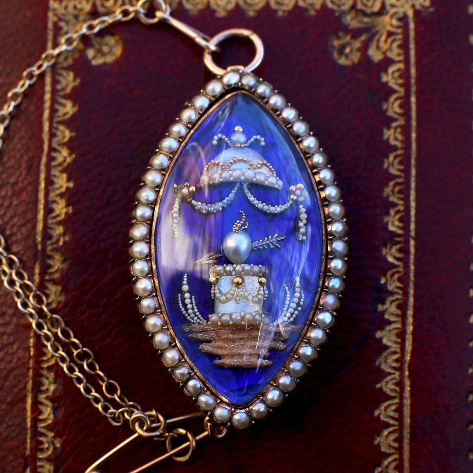 c. 1790s English Georgian Amatory Pendant with Pearl and Bristol Glass Miniature of Flaming Heart