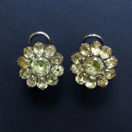 Late 18th century Portuguese Chrysoberyl Flowerhead Earrings