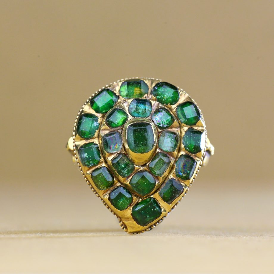 18th century Italian Heart-shaped Cluster Ring