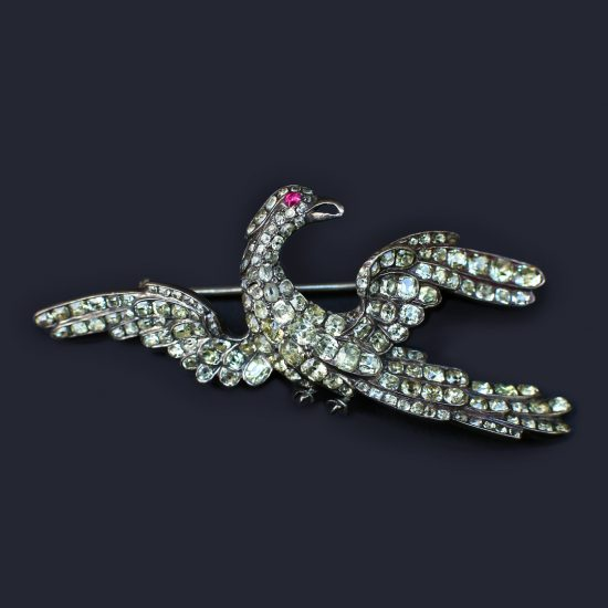 18th c. Portuguese Chrysoberyl Phoenix Bird Brooch, c. 1770