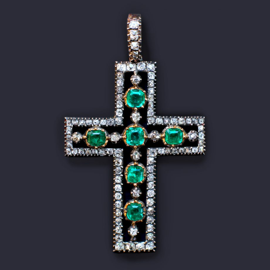c. 1810 Georgian Emerald & Diamond Cross