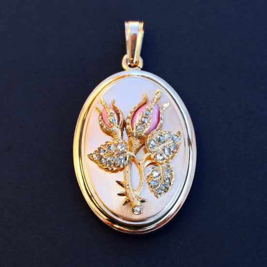 1870 French 'Rosebud' Matte Gold Locket with Diamonds, Pearls, Pink Enamel, Antique Victorian Locket