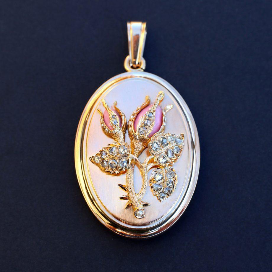 1870 French 'Rosebud' Matte Gold Locket with Diamonds, Pearls, Pink Enamel, Antique Victorian Locket