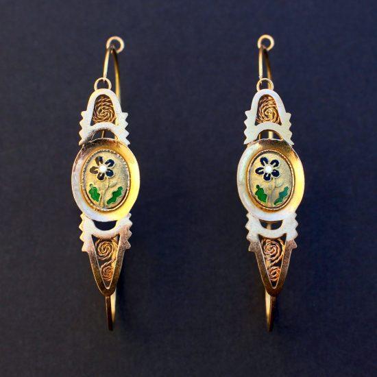 c. 1820-40 French Poissardes Earrings in 18k Gold & Enamel