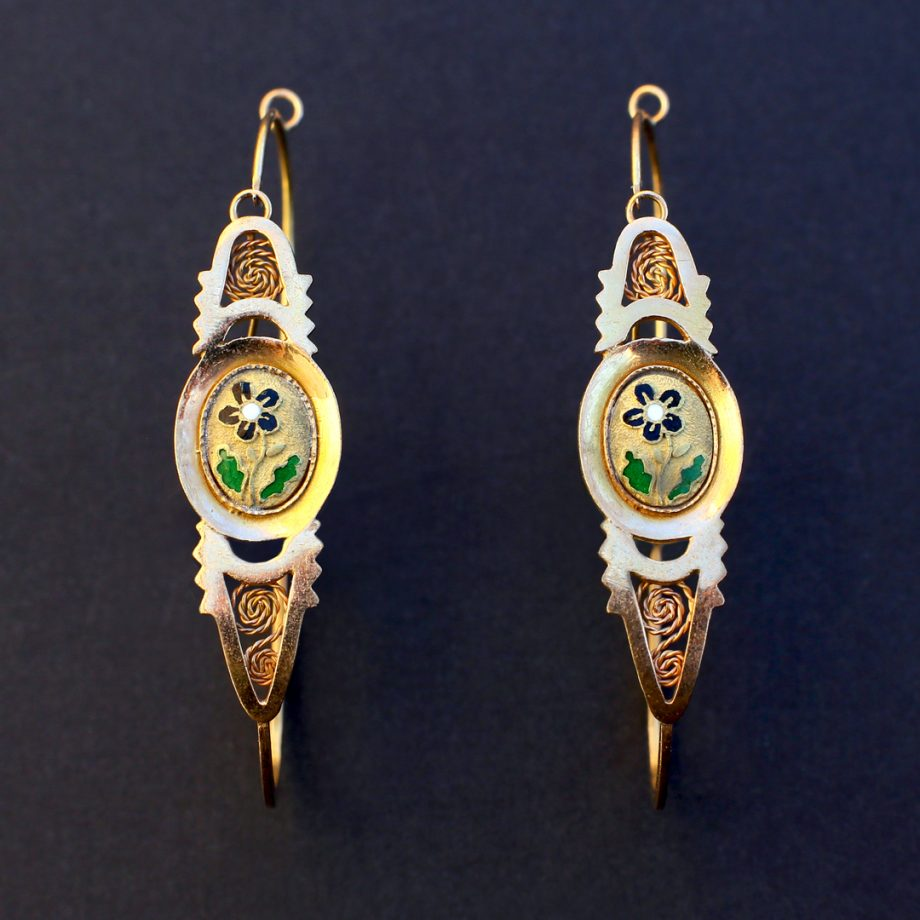 c. 1820-40 French Poissardes Earrings in 18k Gold & Enamel