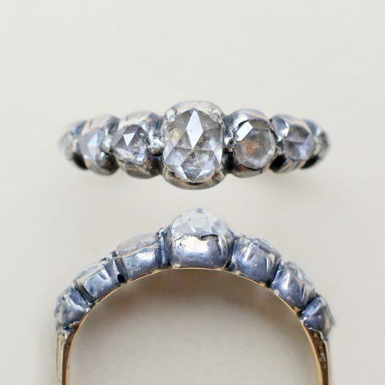 Georgian Diamond Half Hoop Ring