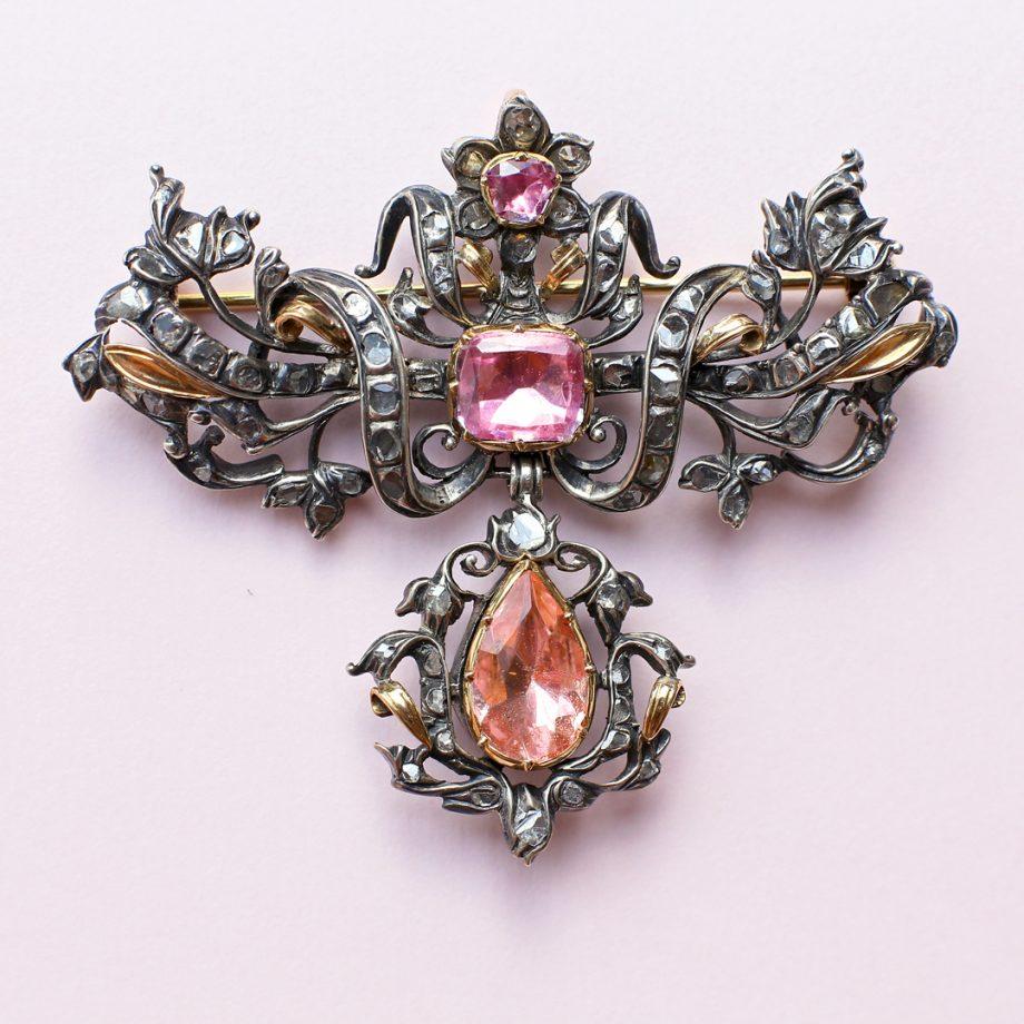 c. 1750 Mid 18th Century Portuguese Rococo Pendant, Pink Topaz, Silver, Rose Gold, Rose Cut Diamonds