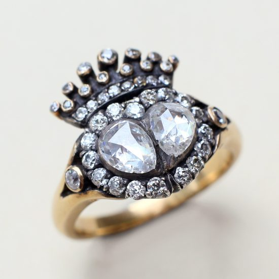 Victorian Crowned Heart Diamond Ring