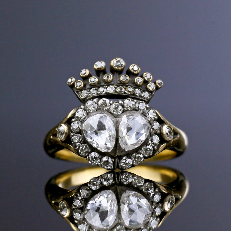 19th c Crowned Heart Diamond Ring