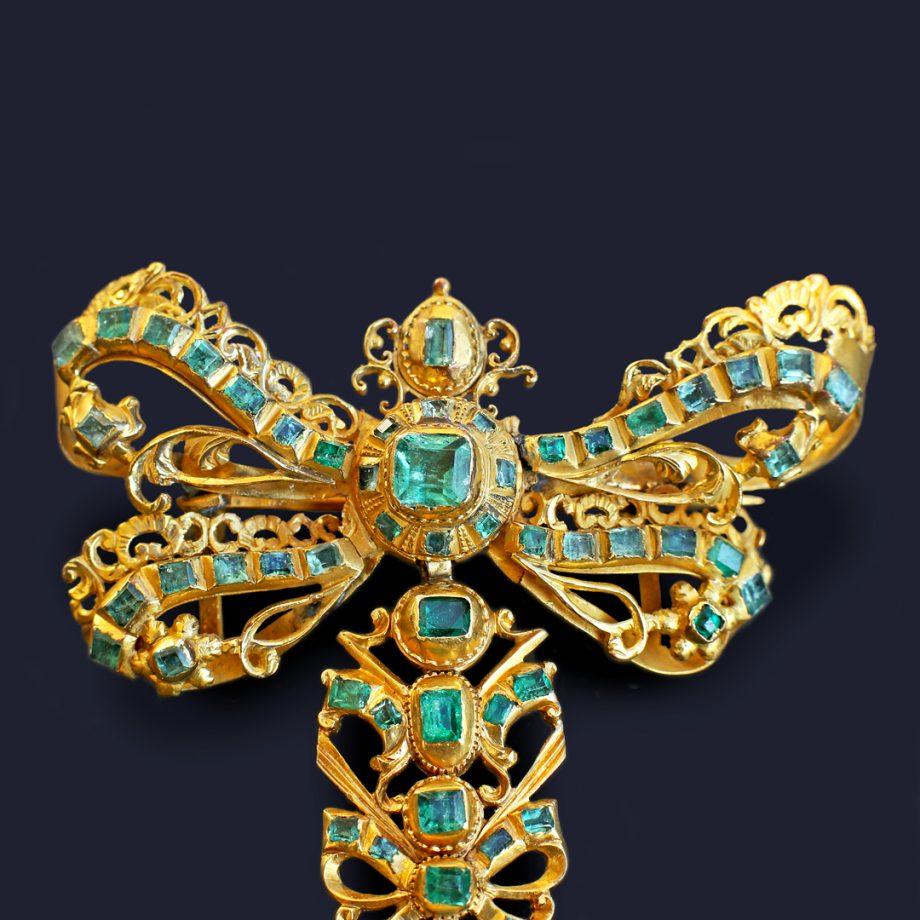 18th c Spanish Emerald 'Lazo' Bow Tie & Cross Pendant