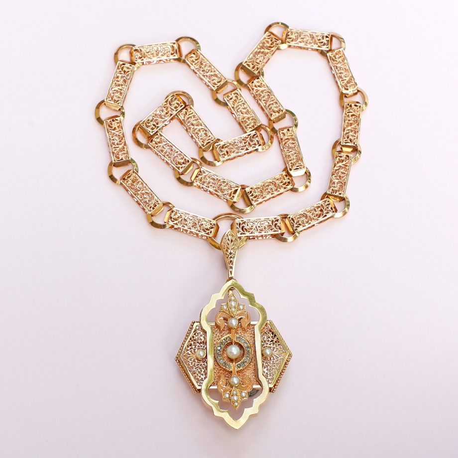c. 1870s Swiss Pierce-worked Gold Book Chain & Pendant Demi-Parure with Pearls & Rose Cut Diamonds