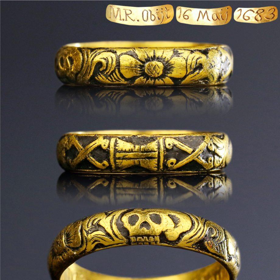 17th century Memento Mori Death's Head Skull Ring