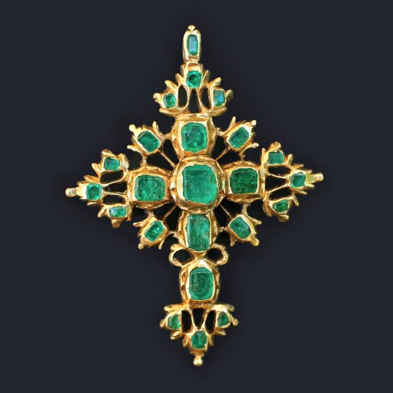 c. 1700 Italian or Spanish Emerald Cross, 18k Gold Late Baroque 17th 18th century