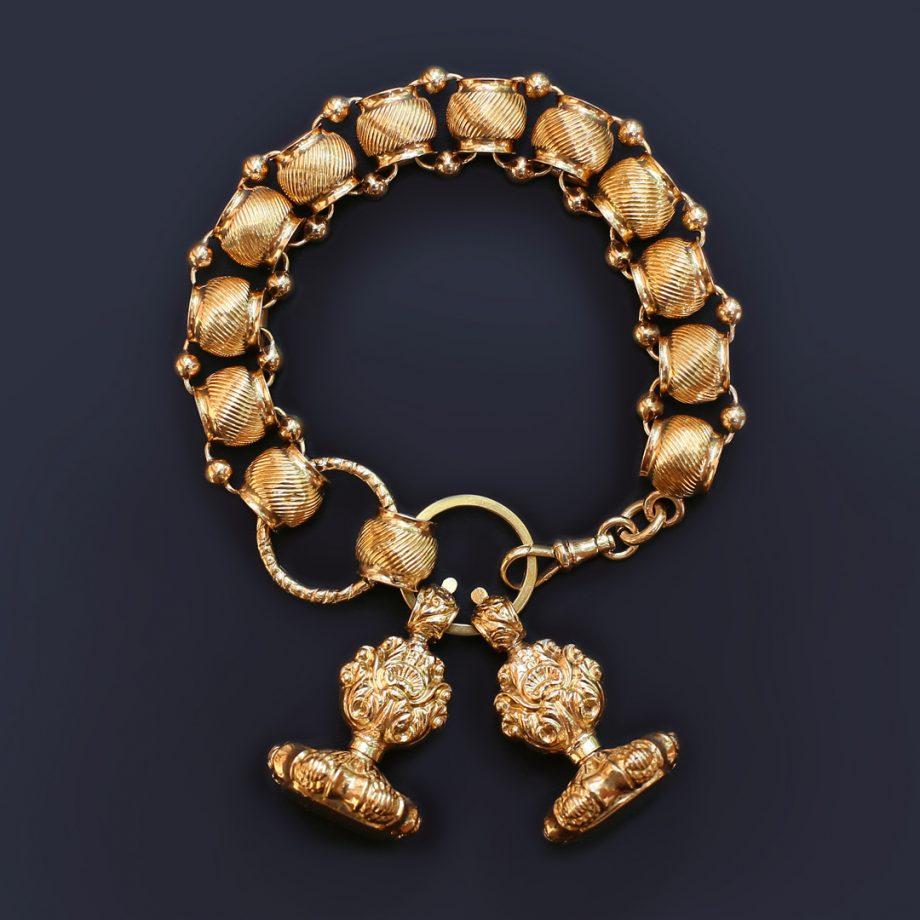 Georgian Chased Gold Fob Bracelet