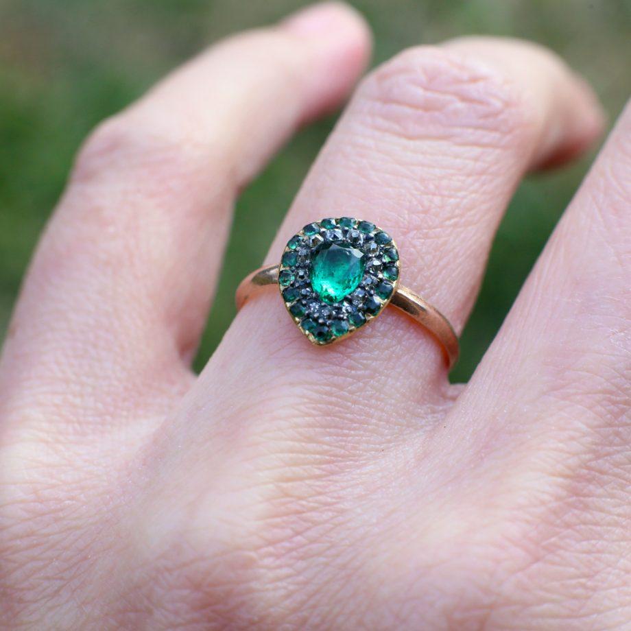 Georgian Emerald Heart Ring