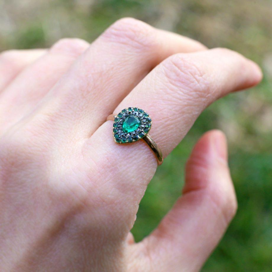 Georgian Emerald Diamond Cluster Ring