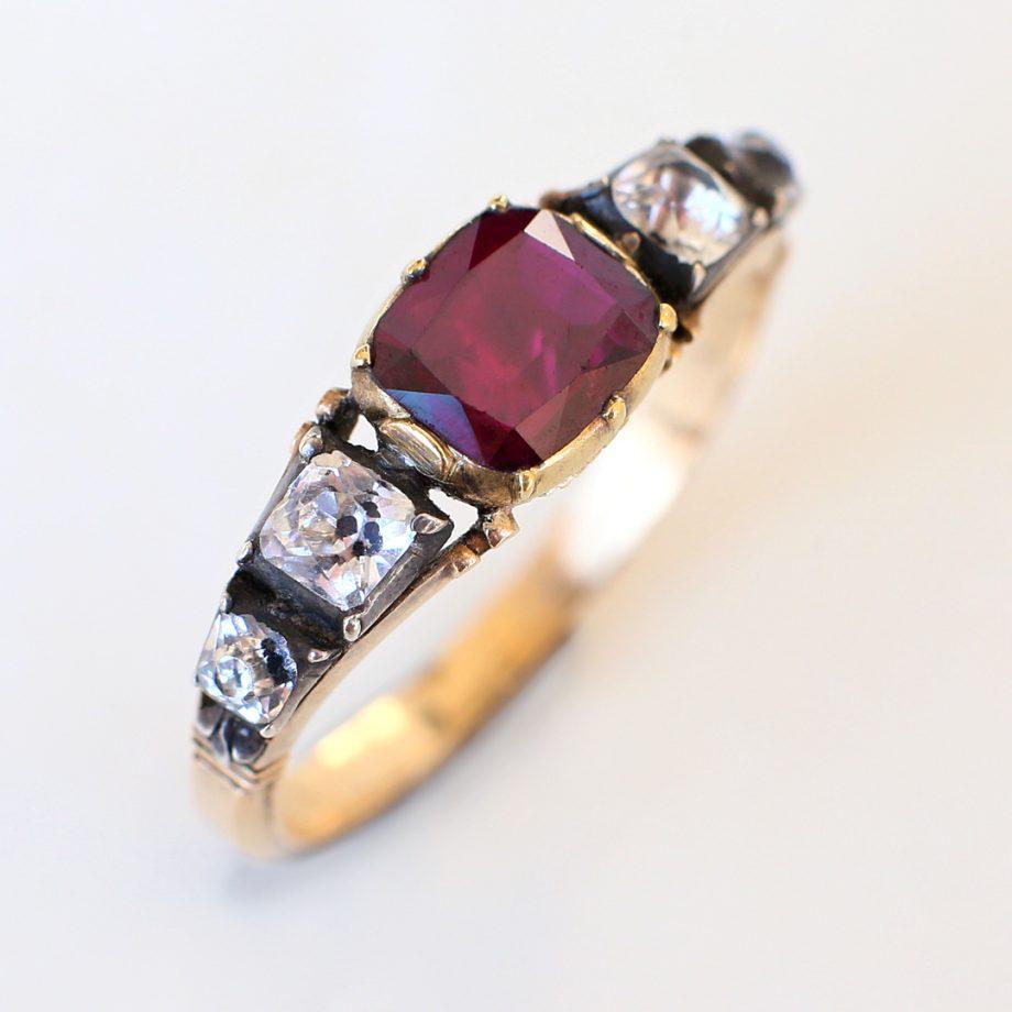 Georgian Rococo Half Hoop Garnet Ring