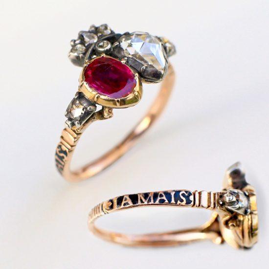 Georgian Ruby & Diamond Crowned Double Heart Ring