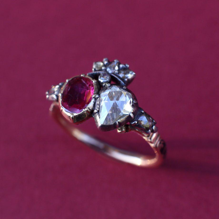 Georgian Ruby Diamond Double Heart Ring