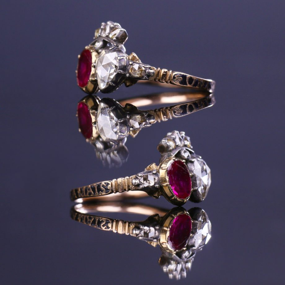 18th century double heart ring