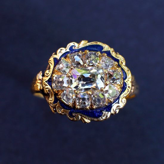 1840 Victorian Old Mine Cut Diamond Cluster Ring with Blue Guilloche Enamel
